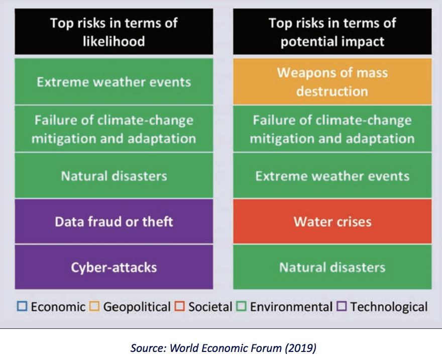 Top risks according to The Global Risks Report of World Economic Forum